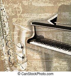 suono, grunge, astratto, fondo, pianoforte a coda