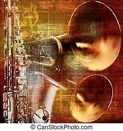 suono, grunge, astratto, sassofono, fondo, trombe