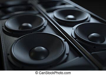 suono, macro, colpo., sistema, hi-fi, acustico, closeup.