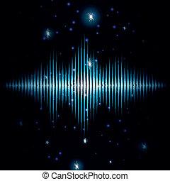 suono, mistico, sfocato, scintille, segno, baluginante