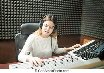 suono, pista, musicista, studio registrazione, preparare, nuovo