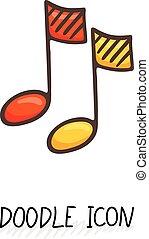 suono, scarabocchiare, multimedia, bottone, nota, vettore, disegno, icon., musicale, element.