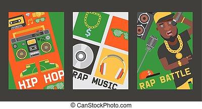suono, set, dj, fondo, cuffie, discjockey, vettore,...
