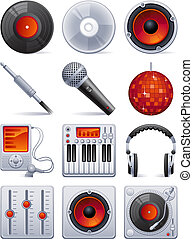suono, set, icona