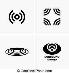 suono, simboli, circondare