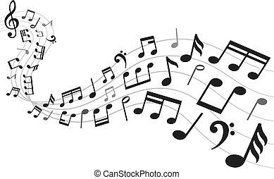 suono, simboli, notazione, foglio, note, illustrazione, nota, fondo., vettore, musica, melodia, musicale
