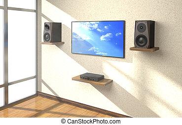 suono, stanza, (3d, tv, illustration)., apparecchiatura