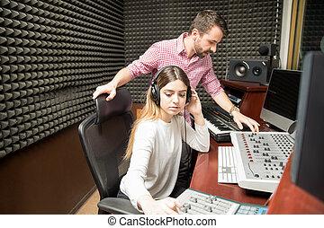 suono, stanza, lavorativo, registrazione, insonorizzato, ingegneri