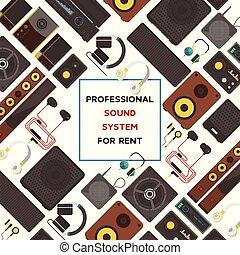suono, stereo, sound-record, dj, basso, modello, vettore,...