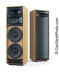 suono, stereo, system., grande, altoparlanti, due, hi-fi, torre, 3d