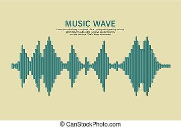 suono, vettore, waveform.