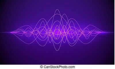 suono, viola, luce, wave., dinamico, illustrazione, astratto, fondo., vettore, musica, flowing., tecnologia, o, colorare