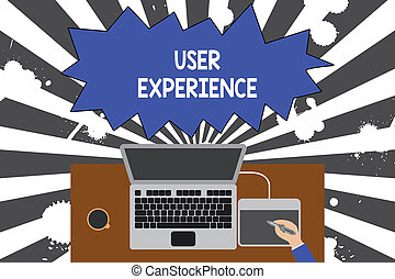 supérieur, concept, experience., ordinateur portable, il, usage, tablette, tasse, bureau., écriture, comment, texte, plaisant, site web, café, termes, ouvrier, signification, utilisateur, bureau, utilisation, surtout, bois, écriture, dessin, vue