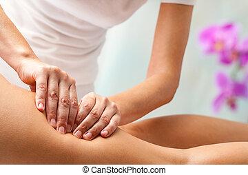 supérieur, demande, thigh., pression, thérapeute, mains