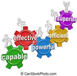supérieur, efficace, gens, efficace, capable, haut, engrenages, marcher