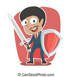 Super african businessman with sword and shield