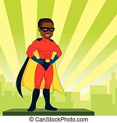 super, américain, héros, africaine