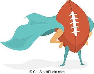 Super american football hero ball with cape