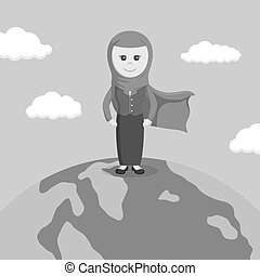 super arab businesswoman standing on globe black and white color style