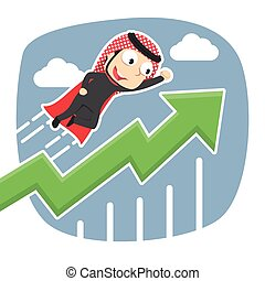 Super arabian businessman flying with raised graph