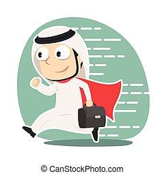 Super arabian businessman running to office