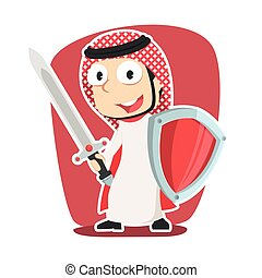 Super arabian businessman with sword and shield