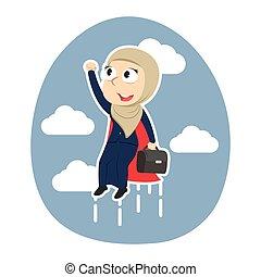 Super arabian businesswoman flying up
