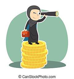Super arabian businesswoman using binocular on top of coins