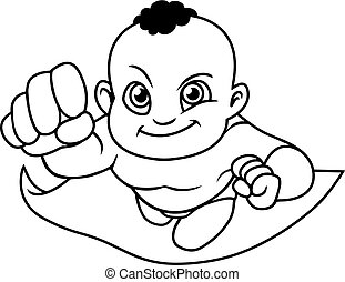 Super Baby Black Line Art
