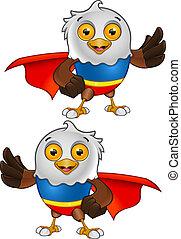 Super Bald Eagle Character - 3 - A vector illustration on a...