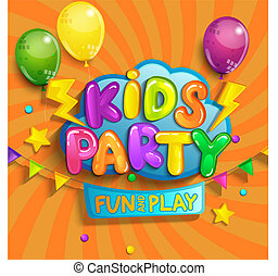 Super Banner for kids party in cartoon style.