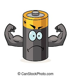 Super Battery Cartoon - Cartoon character of a battery with...