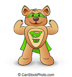Super bear dressed in a green cloak with the letters S and B...