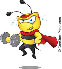 Super Bee - Weight Lifting - A cartoon illustration of a...