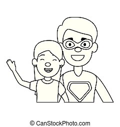 super best dad with daughter characters