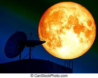 super blood moon and silhouette satellite dish bird