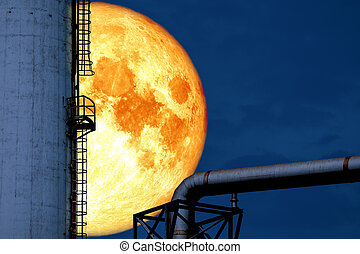 super blood moon back over silhouette refinery oil tank