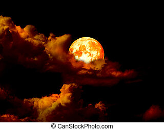 super blood moon in gold sky in the night