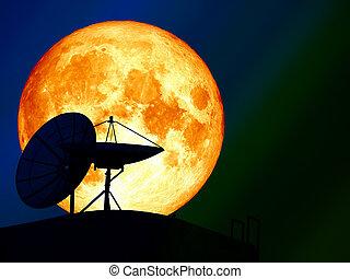 super blood moon over silhouette satellite dish night sky