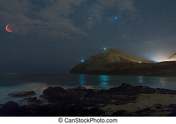 Super Blood Wolf Moon eclipsed over Makapu?u Beach Park with misty water washing in over rocks in Honolulu, Hawaii