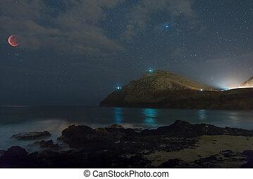 Super Blood Wolf Moon eclipsed over Makapu?u Beach Park with misty water washing in over rocks in Honolulu, Hawaii
