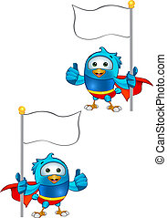 Super Blue Bird - Holding Flag