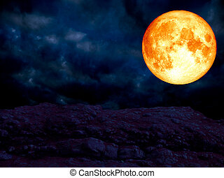 super blue blood moon over granite stone mountain