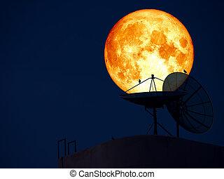 super blue blood moon over silhouette satellite dish bird