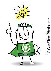 super, bom, reciclagem, herói, idéia