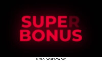 Super Bonus Text Blinking Flickering Neon Red Sign Loop Background. Sale, Discounts, Deals, Special Offers. Green Screen and Alpha Matte