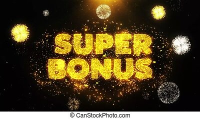 Super Bonus Text on Firework Display Explosion Particles. Sale, Discount Price, Off Deals, Offer promotion offer percent discount ads 4K Loop Animation.