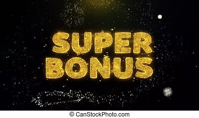 Super Bonus Text on Gold Glitter Particles Spark Exploding Fireworks Display. Sale, Discount Price, Off Deals, Offer Promotion Offer Percent Discount ads 4K Loop Animation.