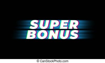 Super Bonus Text Vintage Glitch Effect Promotion Advertisement Loop Background. Tag, Sale, Discounts, Deals, Special Offers, Green Screen and Alpha Matte