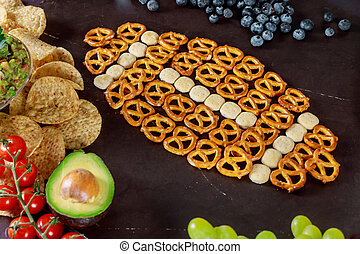 Super Bowl day party snacks for watching a football game.